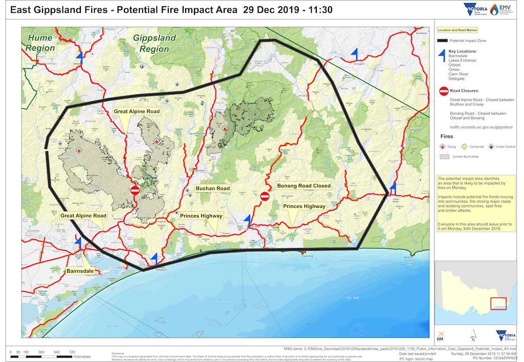 East Gippsland Fires - Potential Fire Impact Area 29 Dec 2019 - 11:30